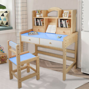Ergonomic Student Writing Desk for Studying Home School Use ZhiLoeng Kids Study Desk and Chair Set Height Adjustable Children Desk with Bookstand and Drawer Best Study Gifts for Boys and Girls