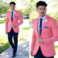 Men Slim Fit Suit Pink Jacket Black Pants Party Prom Groom Tuxedos Wedding Suit