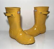 Hunter Original Short Gloss Yellow Rubber Rain Boots Women's Size 6 US 37 EU