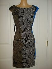 New York and Company Wear to Work Cap Sleeve Floral Print Shift Dress Sz 2