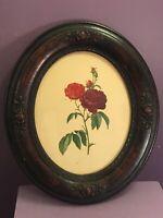 Antique Print In Ornate Wooden Antique Oval Frame