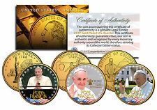 POPE FRANCIS * 2015 U.S. Visit * 24K Gold Plated Quarters U.S. 3-Coin Set PAPAL