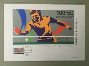PHILARTES EDITION 1989 GERMANY SPORTS TABLE TENNIS HANDSIGNED BY ARTST !! RARE !