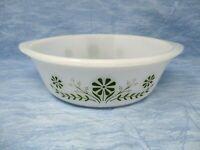2 QT 10 Round Baking DishCasserole Dish Glasbake Green Daisy by Jeannette Milk Glass vintage 1960s
