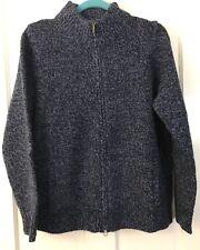 LL BEAN Lamb's Wool Winter Cardigan Sweater Top Zipper Pockets Womens L NEW NWOT
