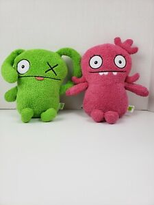 Lot of 2 Ugly Dolls Pink Plush Moxy & Green XO By Hasbro 9 inches 2019