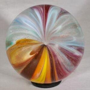 "Wald glass hand made marble aventurine Lutz contemporary sphere 1.1"""