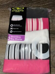 Athletic Works ~ Girls 5-Pair Underwear Seamless Boy Shorts Nylon ~ Size 18