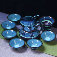 10pcs Ceramic glaze blue amber oil droplet Tianmu change Kung Fu Tea JIANZHAN