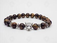 Men Tigers Eye Silver Leopard Bracelet Natural Beaded Stone Gemstone Gift UK