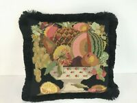 """Vintage Reversible Needlepoint Down Filled Pillow with Fringe  - 17"""" Square"""