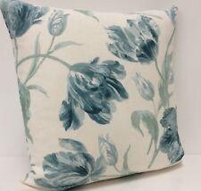 "Duck Egg Blue Laura Ashley Cushion Cover Gosford Linen Blend Floral Fabric 16"""