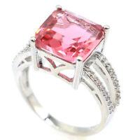 23x11mm Stunning Pink Morganite White CZ Wedding Woman's Silver Ring Us 9.5#