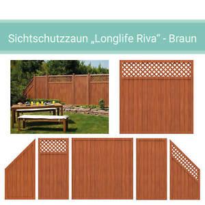 Sichtschutzzaun Holz Zaun LONGLIFE RIVA Braun