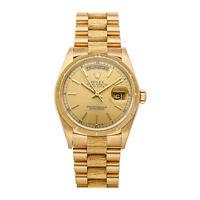 Rolex Day-Date Auto 36mm Yellow Gold Mens President Bracelet Watch 18078
