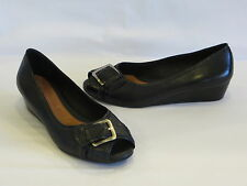 Nurture Black Leather Wedge Heels/Peep Toes/Slides - 7.5M - GR8!