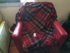 NOS Huge RALPH LAUREN Kingsley Red Tartan Buggy Shawl 54x72 NWT $495 MSRP