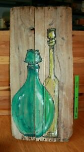 Reclaimed Barn wood Folk Art Drawing painting Decanter bottle Mitch 1968 Vintage