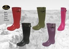 Wetlands Rubber Wellington Boots Wetland wellies welly RED BLACK PLUM OLIVE
