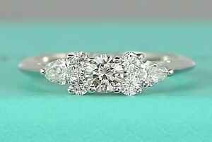 $5,950 Tiffany & Co Platinum Victoria Round Pear Diamond Engagement Flower Ring