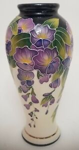 J. McCall BLUE SKY  Floral designed decorative vase with colorful