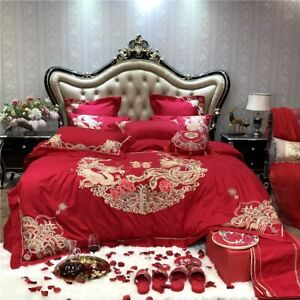 Egyptian Cotton Chinese Wedding Red Bedding Set Luxury Bed Sheet Pillow Shams