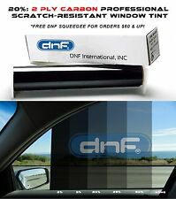 "DNF 2 PLY Carbon 20% 20"" x 100 FT Window Tint Film- LIFETIME WARRANTY GUARANTEE!"