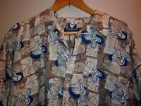 VINTAGE POLYESTER FUNKY  PRINT SHIRT SIZE XXL EXC- CONDITION