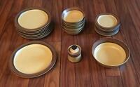 VINTAGE Carriage House 27-Piece Stoneware Dinnerware Set Japan BROWN #507
