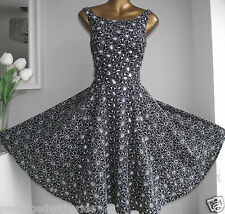 BN MONSOON KELLY DAISY BLACK WHITE EMBROIDERED CUTWORK FLARE 50's PROM DRESS 22