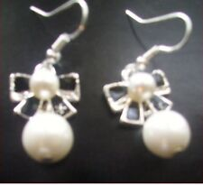 White pearl-like Bow Drop women/Girls Drop Dangle earrings
