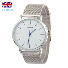 Geneva Watch Quartz Women Watch Silver Plated Stainless Steel Mesh Wrist Watch