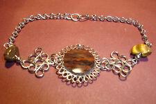 Peruvian Alpaca Silver & Mahogany Obsidian,Gemstone Bracelet~Q69~uk seller