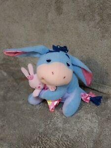 Fisher Price Disney Eeyore Holding Bunny w/Blanket Stuffed Plush Rattle 2004