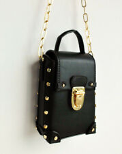 TOPSHOP KOKO COUTURE BLACK FAUX LEATHER GOLD STUDDED BAG WITH CHAIN