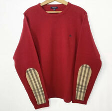 Burberry London Knit Lambswool Sweater XL Red Plaid Elbow Pads Pullover