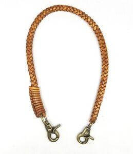 Biker chain braided leather thick Heavy Duty Trucker style Chain wallets Brass