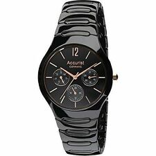 Accurist Gents Multi Dial Black Ceramic Bracelet Watch Mb990b