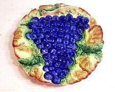 "Fitz & Floyd Dimensional Grape Design Decorative Porcelain Plate 10"" In Diameter"