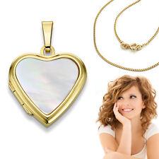 Damen Medaillon Perlmutt Herz Anhänger Amulett Echt Gold 585 mit Doublè Kette