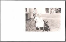 VINTAGE PHOTOGRAPH RPPC 1900'S LITTLE GIRL ROCKING CHAIR WITH DOG PHOTO POSTCARD