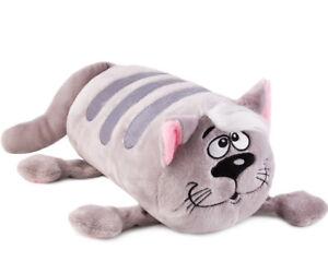 "13"" Gray Cat Bolster Cushion. Mooshi Squishy Decorative Pillow"
