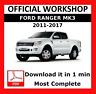 OFFICIAL WORKSHOP Manual Service Repair Ford Ranger 2011 - 2015