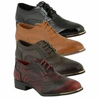 Womens Flat Shoes Ladies Dolcis Lace Up Smart Office Vintage Brogue Shoes Size