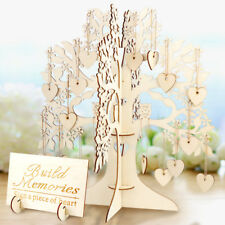 3D Wooden DIY Bridal Baby Shower Wedding Guest Book Tree Sign Signature Hearts