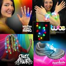Ultimate LED Flashing Party Pack: Crazy Hair, Necklace, Bracelet, Ring, Laces