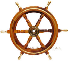 "Nautical Brass Anchor 24"" Antique Wooden Ship's Wheel Boat Steering Wall Decor"