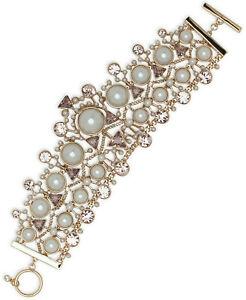 "Givenchy ""Chelsea"" Crystal Glass Pearl Flex Drama Bracelet $250"