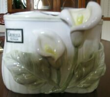 Croscill Bathroom accessory toothbrush holder. Calla Lily Cream Yellow Green