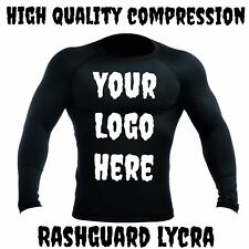Customized Rashguard Lycra Custom Rash LS MMA BJJ Grappling JiuJitsu S M L XL XX